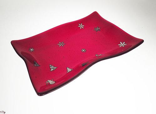 Medium Red Holiday Glass Platter