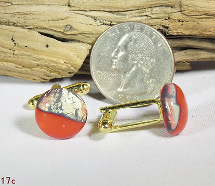 Opal Red/Gold Glass Cuff-Links