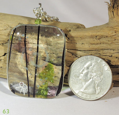 Medium Clear Green Glass Necklace