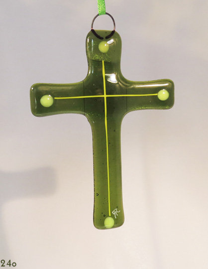 Green Glass Cross Ornament