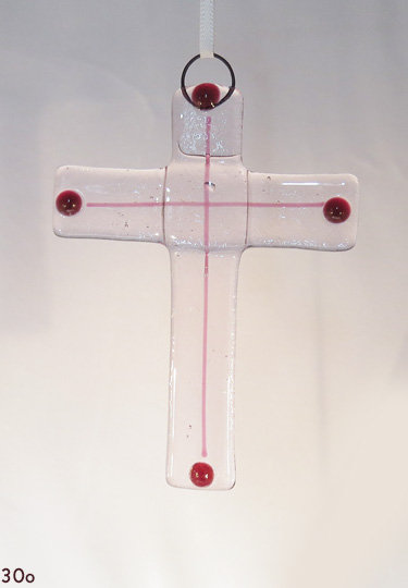 Red & Clear Glass Cross Ornament