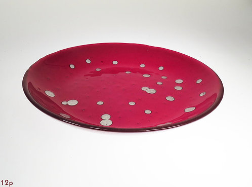 Red Round Glass Platter