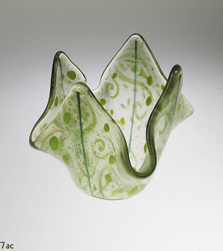 Green Swirls Glass Candle Holder