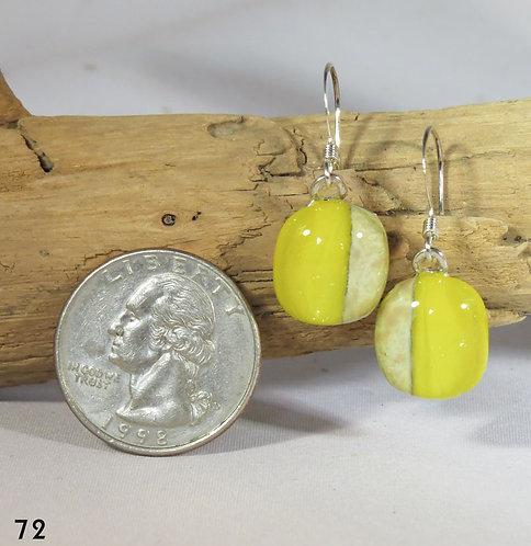 Medium Irid Yellow Glass Earrings