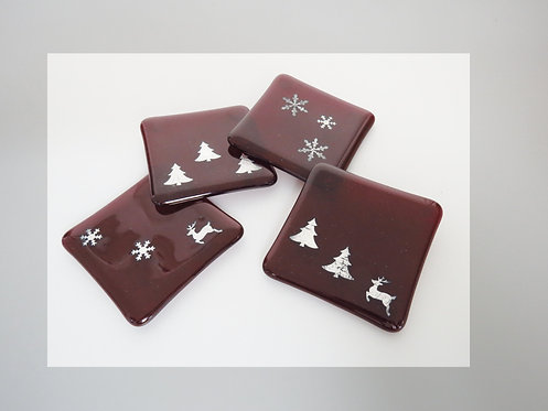 Glass Red Holiday Coasters