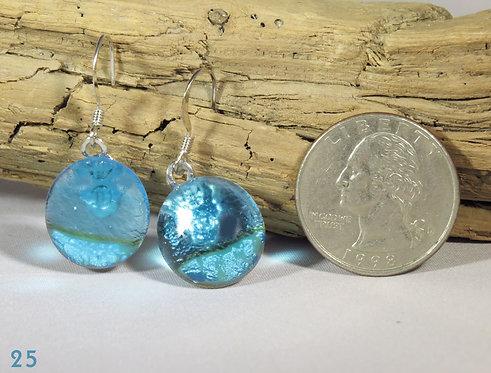 Medium Aqua Glass Earrings