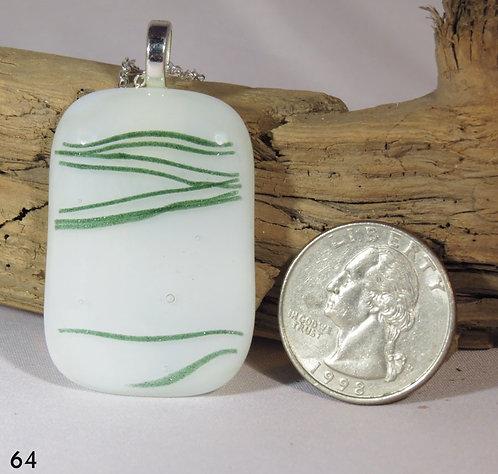 Medium Opal Green & White Glass Necklace