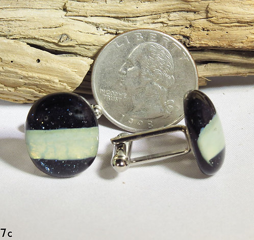 Aventurine Blue Glass Cuff-Links