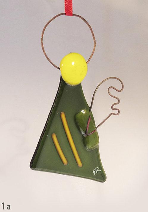Green Glass Angel Ornament