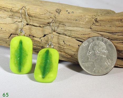Large Spring Green Opal Glass Earrings