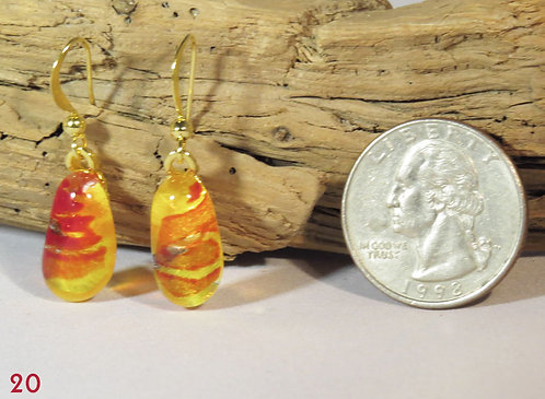 Medium Yellow Glass Powder Earrings