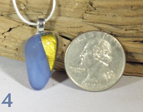 Medium Opal Blue Glass Triangle Necklace