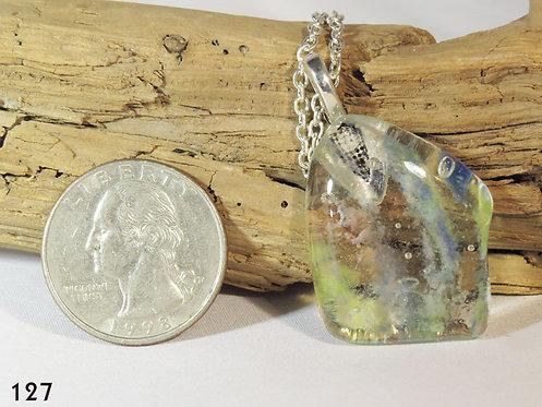 Medium Striped Glass Drop Necklace