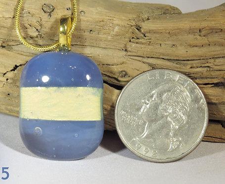 Medium Opal Blue Glass Rectangle Necklace