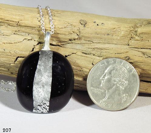 Medium Opal Black Glass Necklace