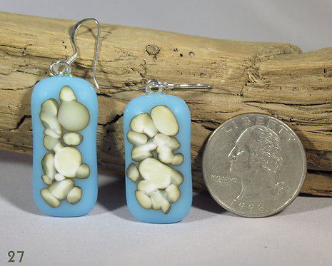 Large Opal Blue & French Vanilla Glass Earrings