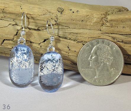 Medium Clear Blue Glass Earrings
