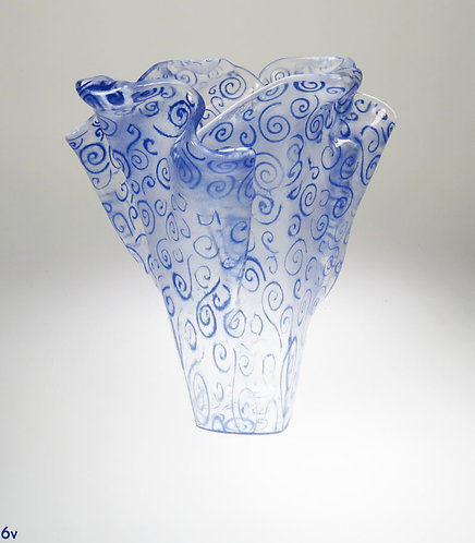 Large Blue Swirl Glass Vase