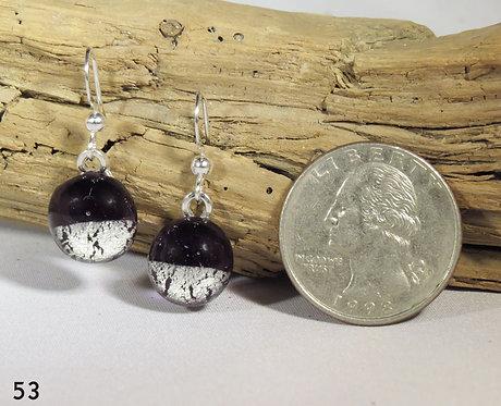 Small Dark Purple Glass Hook Earrings