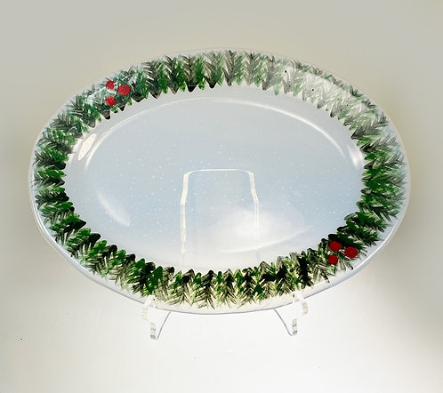 Wreath Holiday Oval Platter
