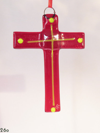 Red & Yellow Glass Cross