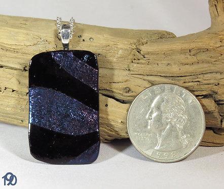 Medium Opal Blue & Black Glass Necklace