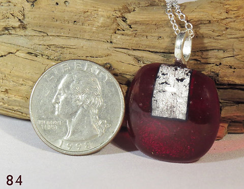 Medium Clear Red Glass Necklace