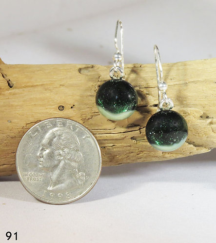 Small Aventurine Green Glass Earrings