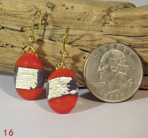 Medium Opal Red/Gold Glass Earrings