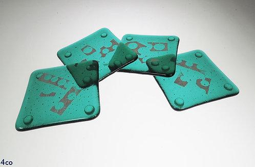 Green Glass Coasters