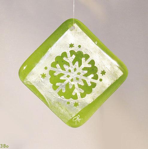 Silver Green Snowflake Ornament
