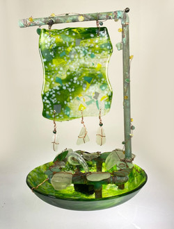 Green Glass Fountain-Tabletop