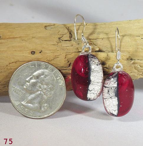 Medium Clear Red Glass Earrings