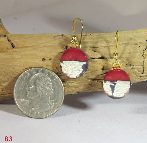 Small Opal Red/Gold Glass Earrings