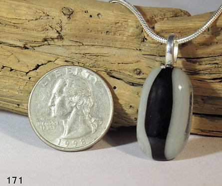 Medium Black & Grey Glass Necklace