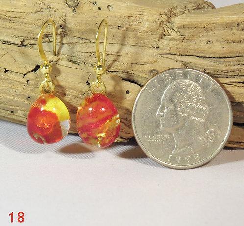 Small Yellow Glass Powder Earrings