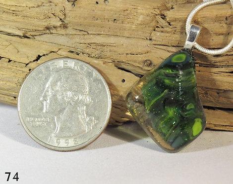 Medium Green Swirl Glass Drop Necklace