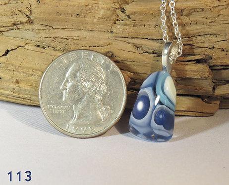 Small Blue Murrine Glass Triangle Necklace