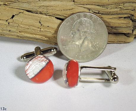 Opal Red Glass Cuff-Links