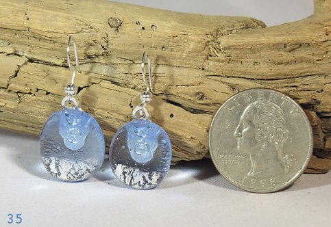 Small Clear Blue Glass Earrings