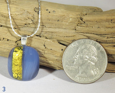 Small Opal Blue Glass Necklace