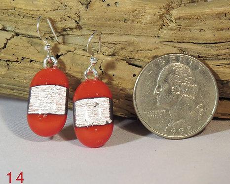 Medium Opal Red Glass Earrings