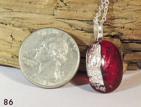 Small Clear Red Glass Necklace