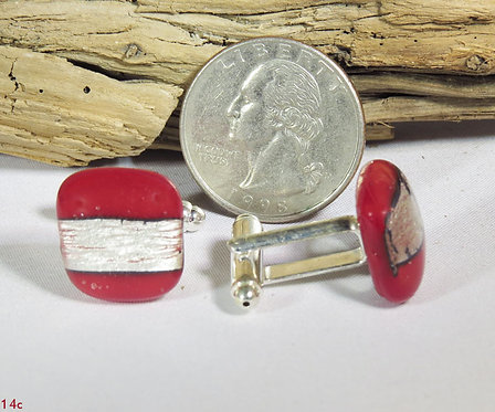 Opal Red Glass Square Cuff-Links