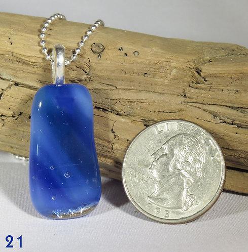 Medium Swirl Blue Glass Necklace