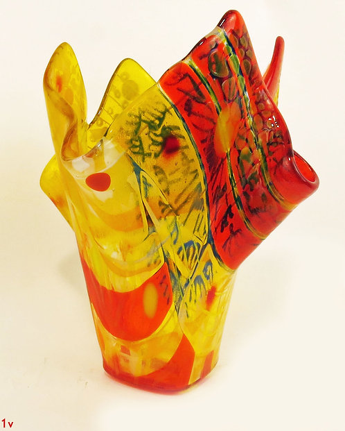 Large Yellow, Red & Blue Glass Vase