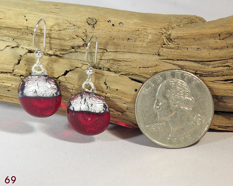 Small Clear Red Glass Earrings