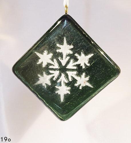 Snowflake Irid Green Ornament