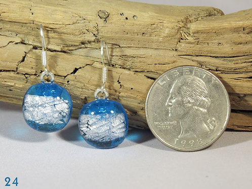 Small Clear Turquoise Glass Earrings