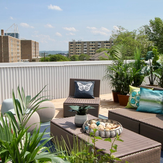 One of the roof deck seating areas